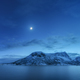 Mountains against blue sky with clouds and moon in winter - PhotoDune Item for Sale