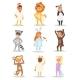 Children Kids Animal Costumes Vector Characters