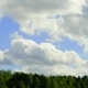 Clouds Are Moving Over Green Trees with a Blue Sky. Landscape - VideoHive Item for Sale