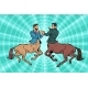Pop Art Two Centaur Businessmen Fighting