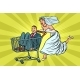 Pop Art Bride and Groom in a Shopping Trolley