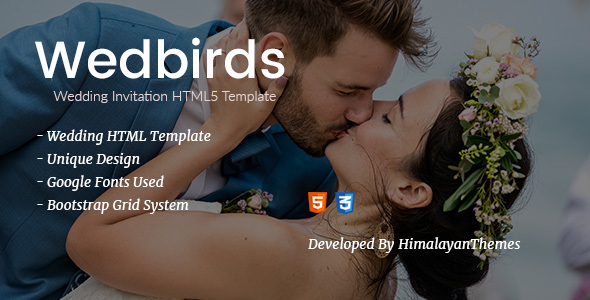 Wedbirds - Wedding Invitation HTML5 Template