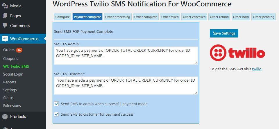 Twilio WooCommerce SMS Notification