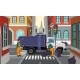 Vector Cartoon City Crossroad with Garbage Truck