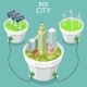 Eco City Flat Isometric Vector Concept