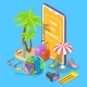 Online Tour Searching Flat Isometric Vector