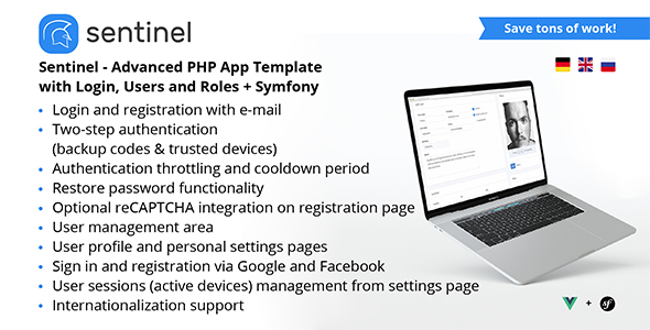 Sentinel - Advanced PHP App Template with Login, Users and Roles + Symfony            Nulled