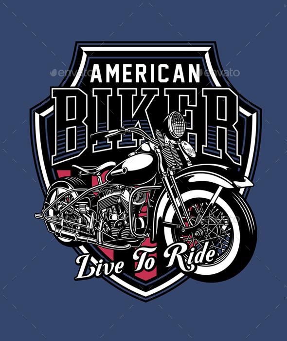 Vintage Motorcycle Emblem - Decorative Symbols Decorative