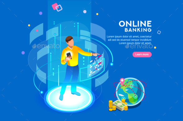 Online Banking Futuristic Concept - Web Technology