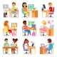 Kids Computer Vector Child Studying Lesson