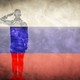 Russian grunge flag with soldier silhouette. - PhotoDune Item for Sale