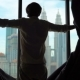 Superslowmotion Shot of a Silhouette of a Successful Rich Man Opening the Curtains of a Window - VideoHive Item for Sale