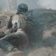 Fully Equipped Soldiers Under Enemy Attack, Jumps Over Mound in Smoky Forest - VideoHive Item for Sale