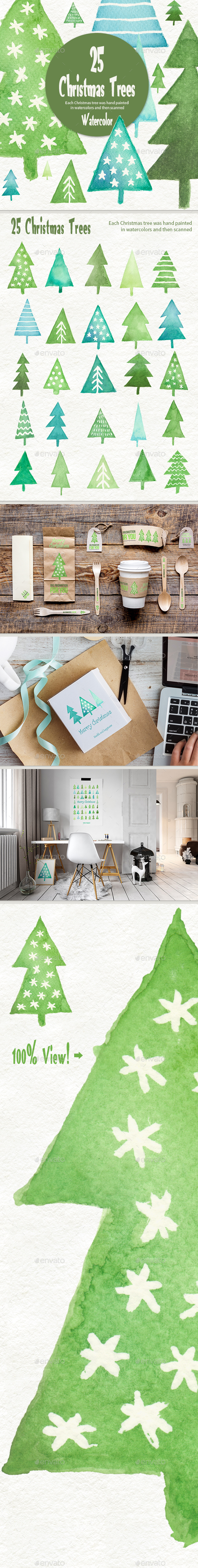 Watercolor Christmas Trees - Objects Illustrations