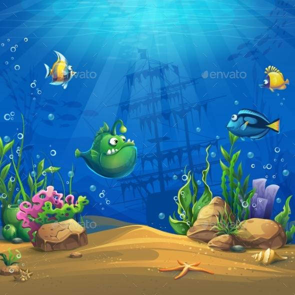 Cartoon Fish in Underwater World - Landscapes Nature