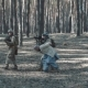 Soldiers of the United States Escort a Captured Mujahid Terrorist in the Forest - VideoHive Item for Sale