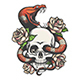 Skull with Snake and Roses - GraphicRiver Item for Sale