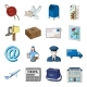 Mail and Postman Cartoon Icons in Set