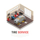 Tire Service Isometric Composition - GraphicRiver Item for Sale