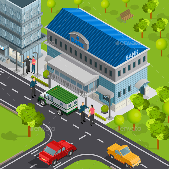 City Bank Isometric Composition - Buildings Objects
