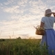 Woman in Summer Dress with Basket of Wildflowers Standing in the Meadow at Sunset - VideoHive Item for Sale
