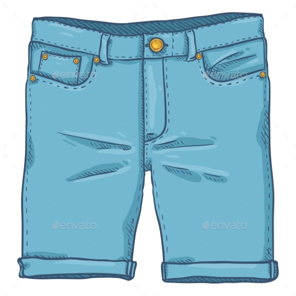 Vector Cartoon Illustration - Blue Denim Jeans - Man-made Objects Objects