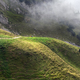tourists hiking in the foggy mountains - PhotoDune Item for Sale