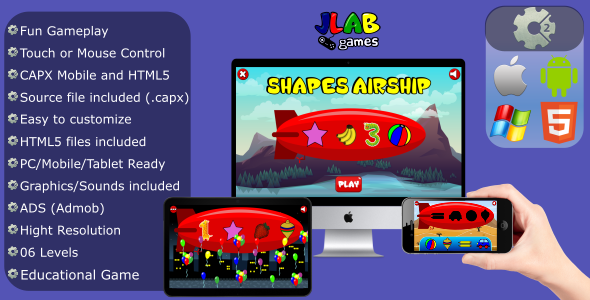 Shapes Airship - Educational Game (CAPX - Mobile and HTML5)            Nulled