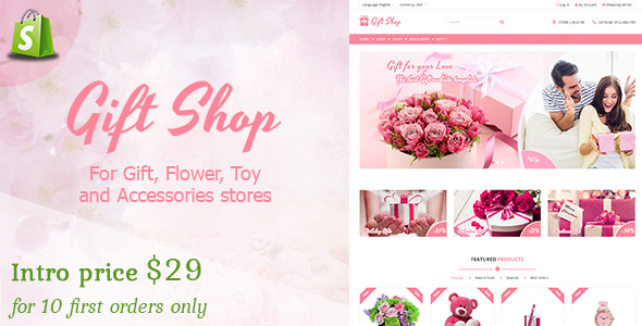 Gift shop - Gift, flower, toy & accessories Shopify stores