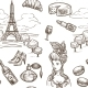 France Paris Vector Sketch Seamless Pattern