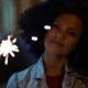 Young Beautiful Woman with Very Curly Afro Hair Dancing with Bengal Fire at Night Illuminated Street - VideoHive Item for Sale