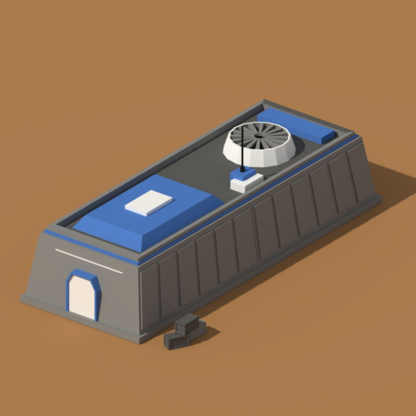 Low Poly Scifi Hangar 1 - 3DOcean Item for Sale