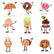 Funny Humanized Desserts Cartoon Characters Set
