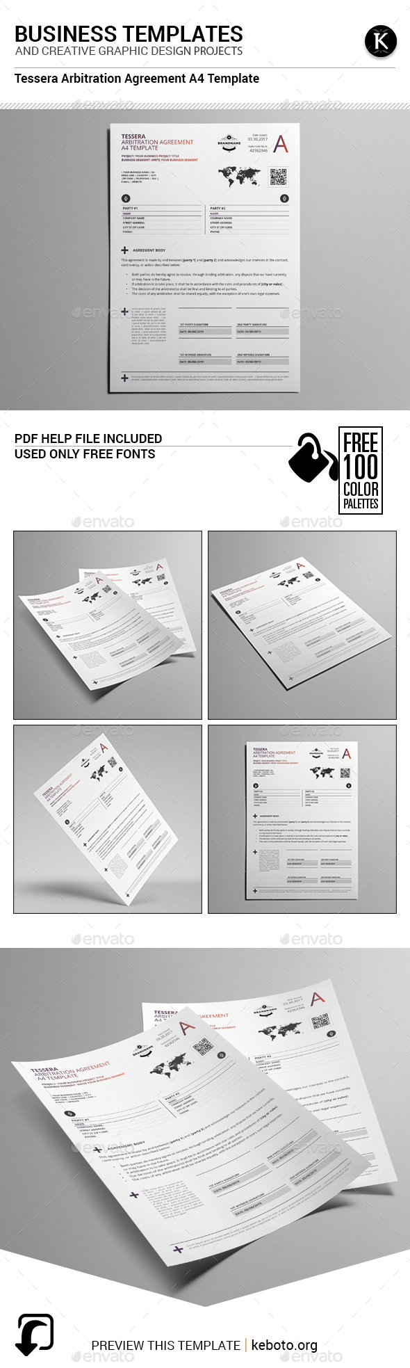 Tessera Arbitration Agreement A4 Template - Miscellaneous Print Templates