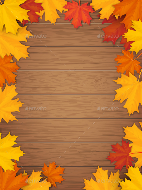 autumn leaves on wooden background by belander graphicriver