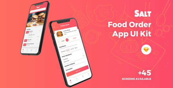 Salt - Food Order App Sketch Template - Sketch Templates
