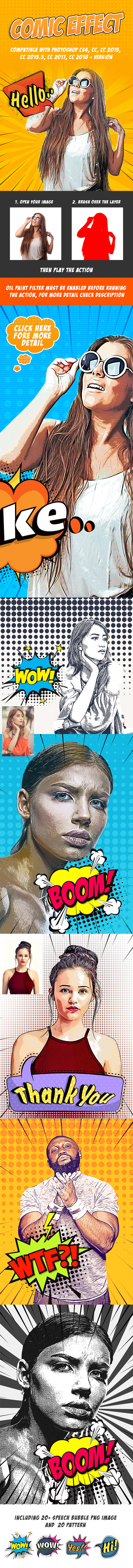Comic Effect - Photoshop Action - Photo Effects Actions