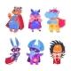 Superhero Animals. Baby Superheroes Vector