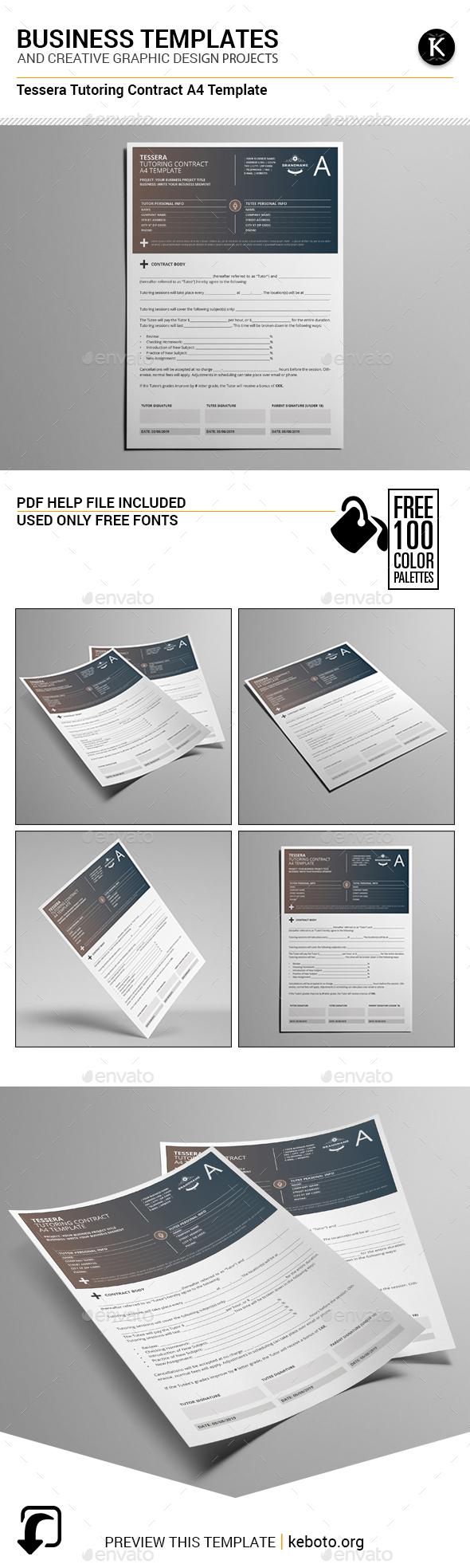 Tessera Tutoring Contract A4 Template - Miscellaneous Print Templates