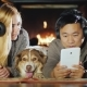 A Young Couple Is Using a Tablet Near the Fireplace. Next To Them Lies Their Dog - VideoHive Item for Sale