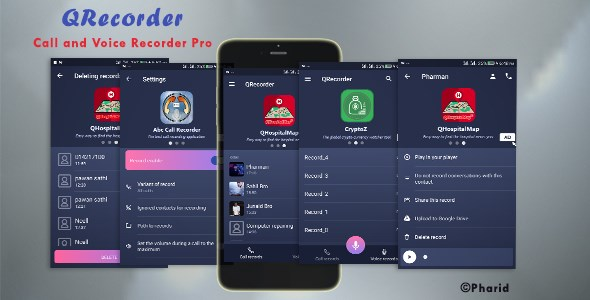 QRecorder - Call and Voice Pro | Beautiful UI, Ads Slider, Admob, Admin Panel, Push Notification            Nulled