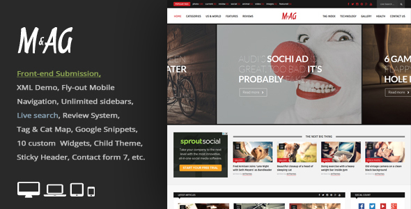 MAG = Grid Magazine / News WordPress Theme / Front-end Submission