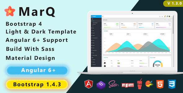MarQ - Bootstrap 4 & Angular 6+ Admin Dashboard Template