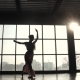 Silhouette of a Graceful Ballerina Against the Backdrop of the Setting Sun. - VideoHive Item for Sale