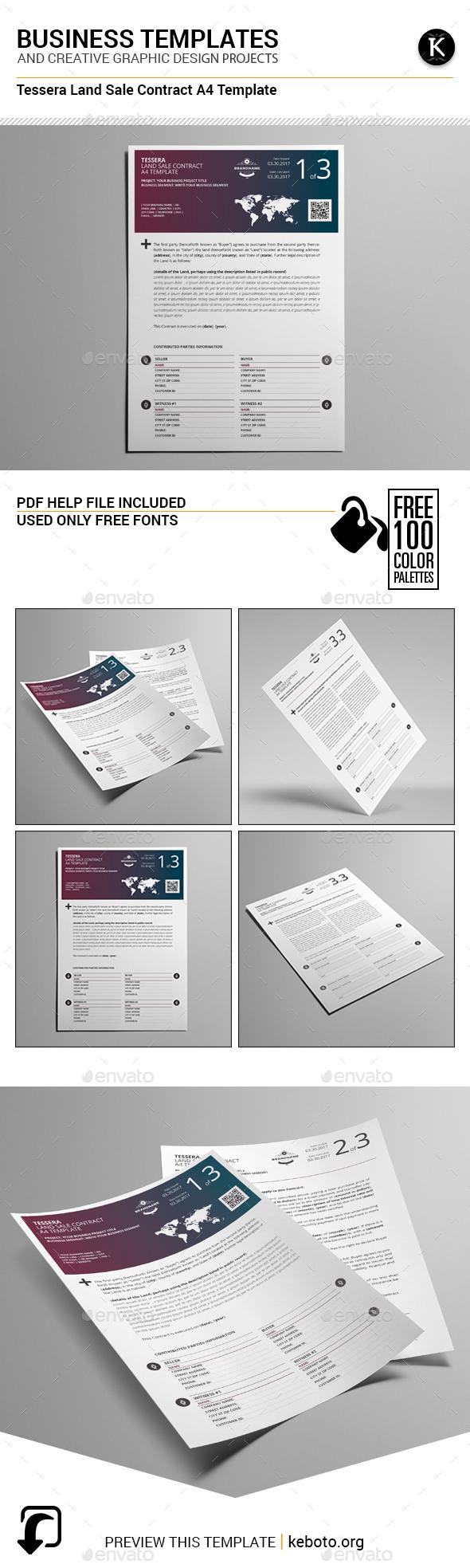 Tessera Land Sale Contract A4 Template - Miscellaneous Print Templates