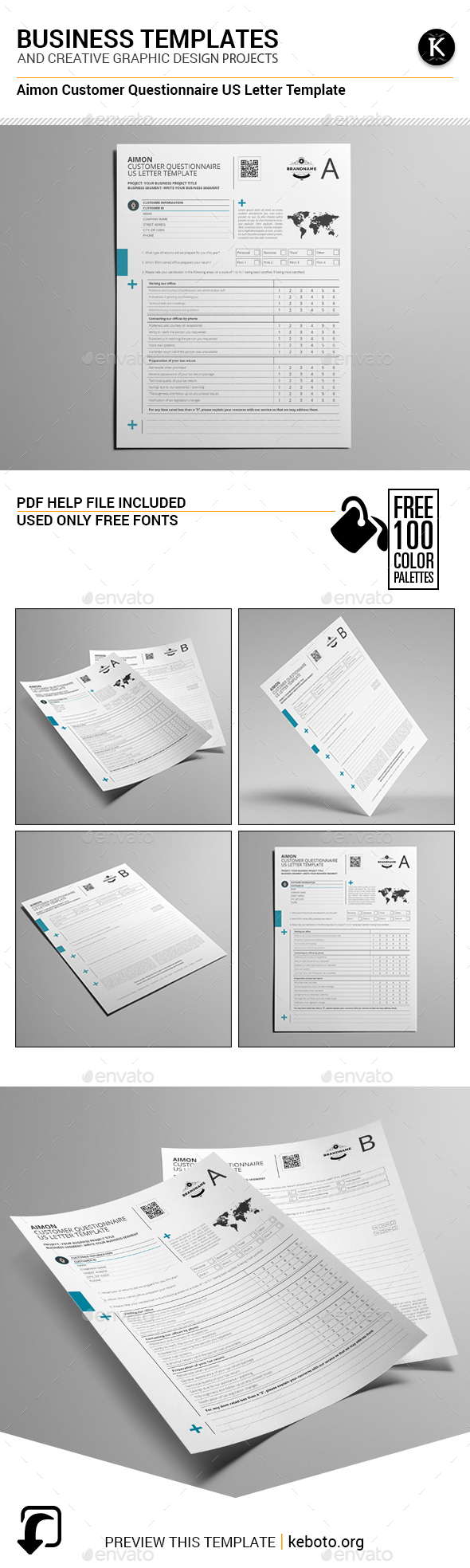 Aimon Customer Questionnaire US Letter Template - Miscellaneous Print Templates