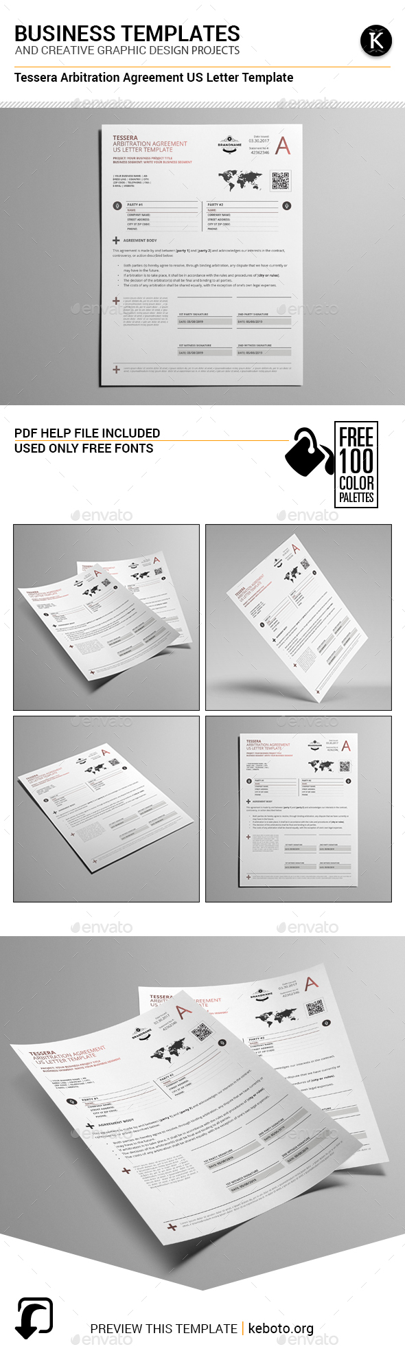 Tessera Arbitration Agreement US Letter Template - Miscellaneous Print Templates