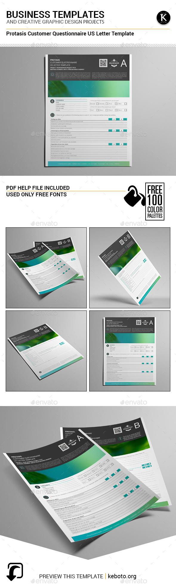 Protasis Customer Questionnaire US Letter Template - Miscellaneous Print Templates