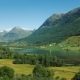 A Picturesque Norwegian Fjord, on the Banks Along the Water, Traditional Wooden Houses. Idyllic - VideoHive Item for Sale