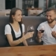 Loving Couple Talking and Smiling While Having Glass of Red Wine on a Terrace - VideoHive Item for Sale